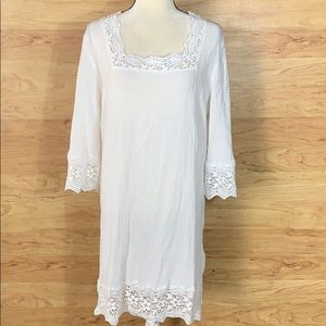 Talbots Soft White Dress Crochet Lace Trim Size L